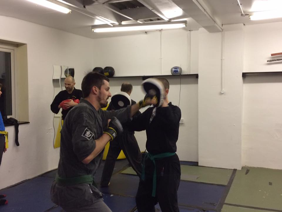 pad work at the new dojo